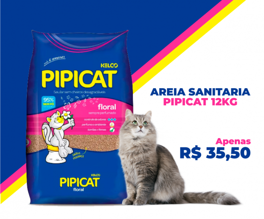 AREIA SANITARIA PIPICAT FLORAL 12KG