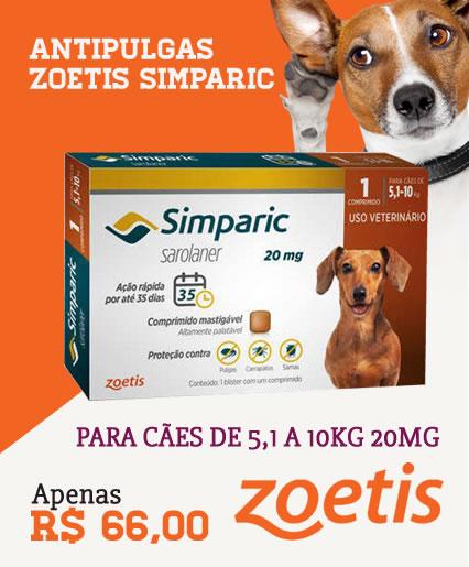 ANTIPULGAS ZOETIS SIMPARIC PARA CÃES DE 5,1 A 10KG 20MG