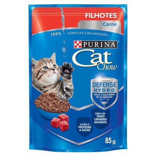Sache Cat Chow para Gatos Filhotes Sabor Carne ao Molho 85g