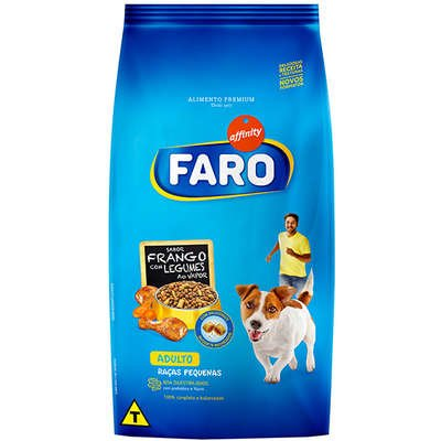 Ração Faro para Cães Adultos Raças Pequenas Sabor Frango e Legumes 15Kg