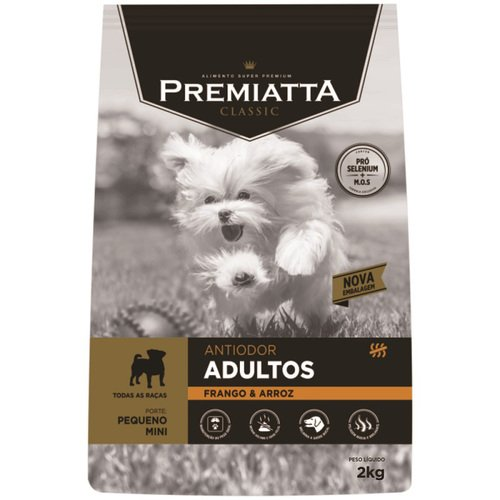 Ração Premiatta Antiodor para Cães Adultos Raças Pequenas Sabor Frango e Arroz 2Kg
