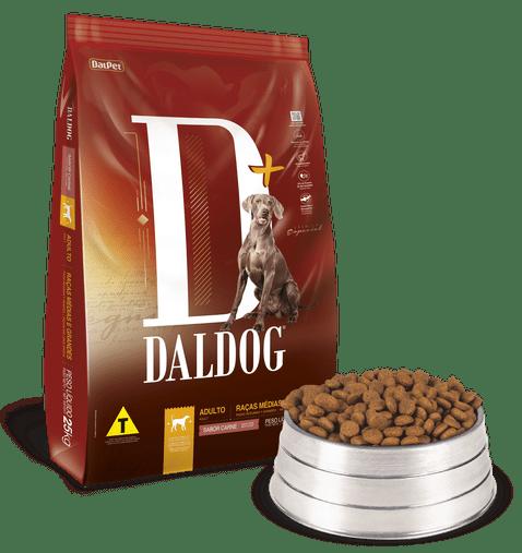Ração Daldog D+ para Cães Adultos Raças Médias e Grandes Sabor Carne 25Kg