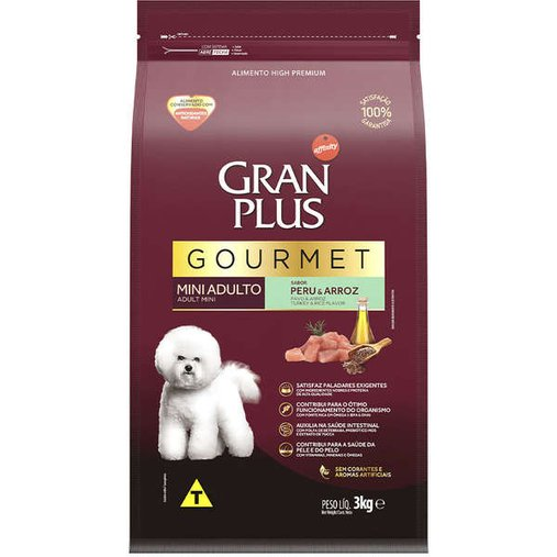 Ração Gran Plus Gourmet para Cães Adultos Raças Pequenas Sabor Peru 3Kg
