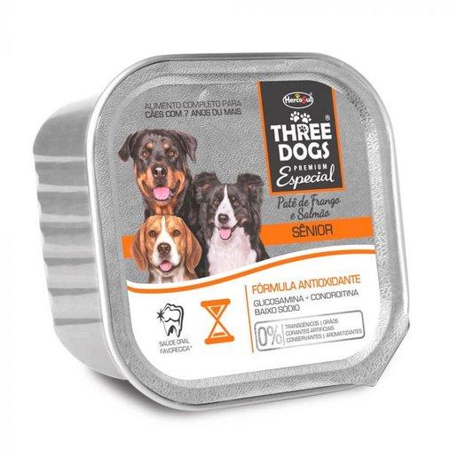 Patê Three Dogs para Cães Sênior Sabor Frango e Salmão 150g