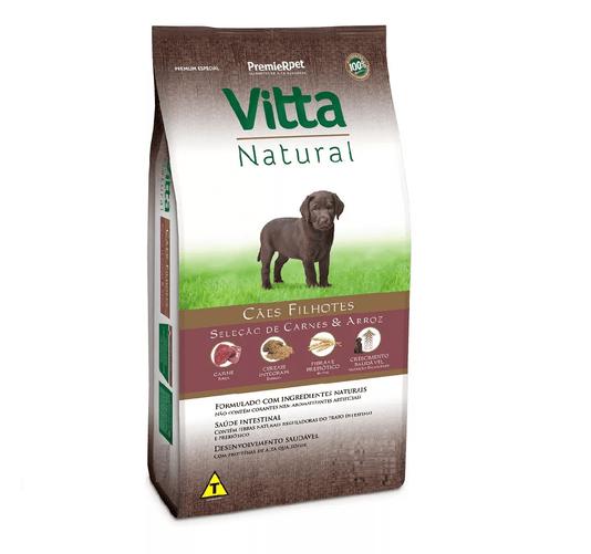 Ração Vitta Natural para Cães Filhote Sabor Carne e Arroz 15Kg