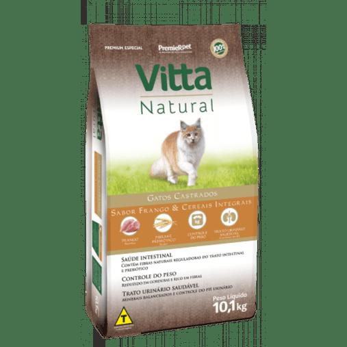 Ração Vitta Natural para Gatos Castrados Sabor Frango 10,1Kg