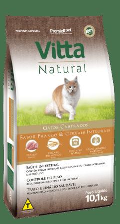 Ração Vitta Natural para Gatos Castrados Sabor Frango 3Kg